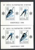 Rwanda 1968 Winter Olympics Grenoble 2x MS MUH - Rwanda