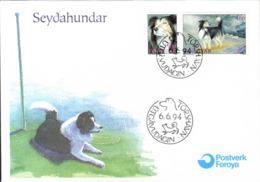 Feroe Poste Obl Yv:258/259 Chien Féroïen De Berger Torshaven 6-6-94 Fdc - Féroé (Iles)