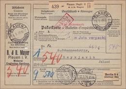 Weimar: Paketkarte Von Plauen Nach Island 1929 - Gebühr Bezahlt - Deutschland