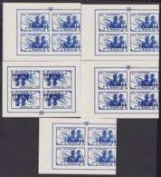 BELGIQUE 1944 BLOCS SS COB 44/48 NON DENTELES IMPRESSION RECTO VERSO CERTIFICAT BALASSE (DD) DC-2322 - Commemorative Labels