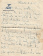 """9292-FOGLIO DI LETTERA INTESTATO """"48° REGG. ARTIGLIERIA COSTIERA COSSERIA II°""""-1936 - 1900-44 Vittorio Emanuele III"""