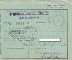 9298-BIGLIETTO 3° CLASSE TRASPORTO MILITARI DA BREZZA A TORINO-1941 - Treni
