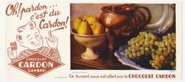 Buvard 23.4 X 10.4 Chocolat CARDON à Cambrai Image N° 19495 (= N° 24) Coupe Poire Raisin Plateau Pichet Fruit - Chocolat