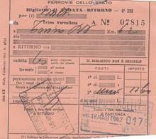 9299-BIGLIETTO 3° CLASSE ANDATA-RITORNO DA TRINO VERCELLESE A TORINO-1942 - Treni