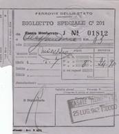 9300-BIGLIETTO SPECIALE 3° CLASSE MILITARI DA CASALE MONFERRATO-ALESSANDRIA-1942 - Treni