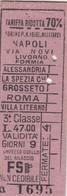 9302-BIGLIETTO TARIFFA RIDOTTA 3° CLASSE MILITARI DA TORINO P.N.-NAPOLI -1941 - Treni