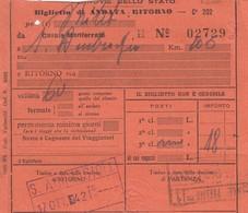 9303-BIGLIETTO ANDATA-RITORNO 3° CLASSE DA CASALE MONF.(AL) A S.AMBROGIO(TO)-1942 - Treni
