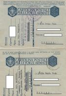 "9304- N. 2 FRANCHIGIE P.M. 2° GUERRA SPEDITE DA ""1° REGG. ART. CONTRAEREI R.M.V. 21° GRUPPO-NAPOLI""-1941 - 1900-44 Vittorio Emanuele III"
