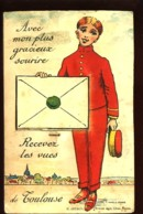 """CARTE à SYSTEME - """"Avec Mon Plus Gracieux Sourire, Recevez Les Vues De TOULOUSE"""" - (dépliant De Vues Miniatures) - Toulouse"""