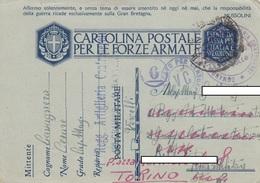 "9306- FRANCHIGIA P.M. 2° GUERRA SPEDITA DA ""1° REGG. ART. CONTRAEREI 10° GRUPPO-1° BATT.-VERCELLI""-1942 - Marcophilia"