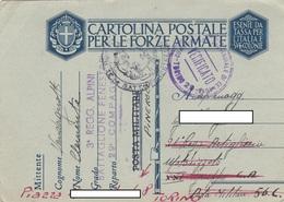 """9307- FRANCHIGIA P.M. 2° GUERRA SPEDITA DA """"3° REGG. ALPINI BATTAGLIONE FENESTRELLE 29° COMP.-PINEROLO-1941 - Marcophilia"""