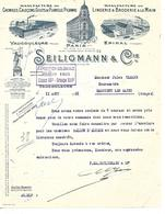 Facture 1931 Tampon EXPOSITION COLONIALE  PARIS  Classe 88 / Vaucouleurs Epinal Paris / SEILIGMANN Manufacture Vêtements - France