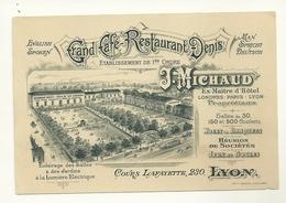 69 LYON CARTE DE VISITE GRAND CAFE RESTAURANT DENIS PUBLICITE RHONE - Publicités