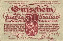 Billet Autriche - 50 Heller - Landeskasse Steiermark 1919 - Oesterreich