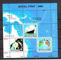 Solomon Isl. - 1982. Royal Visit. Nave, Bandiere ,Carta Geografica. Ship, Flags, Map. MNH - Francobolli