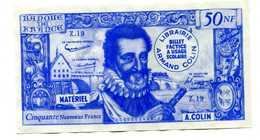 Billet Scolaire école (5000F / 50NF Henri IV) 1959 - Armand Colin - School Bank Note - Specimen
