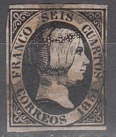 SPAIN     SCOTT NO. 6    USED      YEAR  1851 - 1850-68 Kingdom: Isabella II