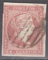 SPAIN     SCOTT NO. 37    USED      YEAR  1855 - 1850-68 Kingdom: Isabella II