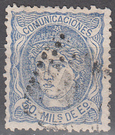 SPAIN     SCOTT NO. 166      USED      YEAR  1870 - 1868-70 Provisional Government