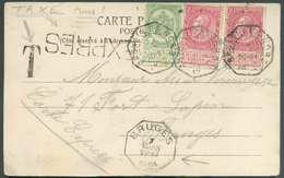 N°56-58(2) - 5 Cent. Armoirie + 10 Centimes Fines Barbes (x2) Obl. Télégraphique BRUXELLES (NORD) Sur C.P. Envoyée En Ex - 1905 Barbas Largas