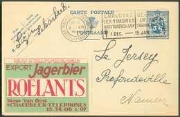 BIERE BIER - E.P. PUBLIBEL Carte 50 Centimes LION Obl. Mécanique De BRUXELLES (NORD) Le 8-XII-1933 Avec Repiquage Public - Bières