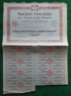 """Action De Cinq Cents Francs Au Porteur Catégorie """"0"""" - Société Foncière Du Nord De La France Sise à Lille Puis Paris - Banque & Assurance"""