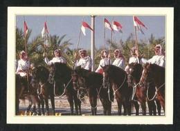 Bahrain Picture Postcard Horsemen Lined Royal Salute View Card - Bahrain