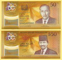 Brunei / Singapore $ 50 P-38 2017 / P-62 2017 Set (without Folder) Commemorative UNC - Brunei