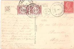 90C.BERTHELOT Sur Carte Postale Oblitéré Cachet Belge De ERQUELINES Et Taxé à Son Arrivée à BRUXELLES - 1921-1960: Période Moderne