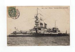 Sur Carte Postale Cuirassé Le Valmy Type Blanc CAD Cherbourg à Paris 1907. (3227) - Poste Ferroviaire