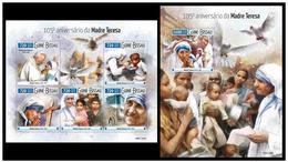 Guinea Bissau 2015 Mother Teresa Klb + S/s MNH - Mère Teresa