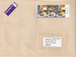 Finland 2005 Europa: Gastronomy, Food, Mi 1750-1749-1950 In Strip Three Stamps  On Cover, Not Cancelled - Finland