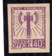 FRANCIA FRANCE 1942 1943 SERVICE SERVIZIO COURRIER OFFICIEL TEST ESSAY PROVA SAGGIO IMPERF. 40c NG - Nuovi