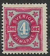 Sweden, 1892, 4 Ore, Pale Blue & Aniline Carmine, MH* - Neufs
