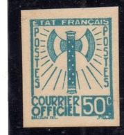 FRANCIA FRANCE 1942 1943 SERVICE SERVIZIO COURRIER OFFICIEL TEST ESSAY PROVA SAGGIO IMPERF. 50c NG - Nuovi