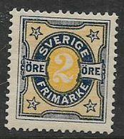 Sweden, 1892, 2 Ore, Yellow & Deep Blue   MH* - Neufs