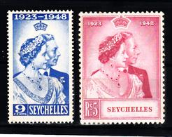 Seychellen 1948 Mi Nr 148 - 149, Koning Georgs VI., Postfris Met Plakker - Seychelles (...-1976)