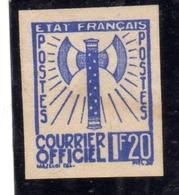 FRANCIA FRANCE 1942 1943 SERVICE SERVIZIO COURRIER OFFICIEL TEST ESSAY PROVA SAGGIO IMPERF. 1.20f NG - Nuovi