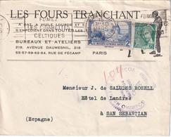 FRANCE   1939 LETTRE DE PARIS POUR SAN SEBASTIAN  AVEC CENSURE MILITAIRE - Marcophilie (Lettres)