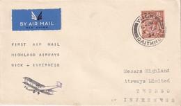 GRANDE-BRETAGNE 1934 LETTRE DE WICK  1ER VOL WICK-INVERNESS - 1902-1951 (Kings)