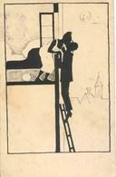 11610 -  Illustrateur  -   SILHOUETTES  HUMOUR  (sous L'oeil De La Lune)  Circulée En 1907 - Régiments