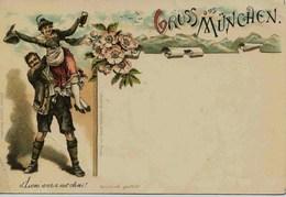 11612 -  Illustrateur  -  JOYEUX COUPLE ALLEMAND  - D'Loni Wara Net Ohni !!!!  GRUSS Aus MUNCHEN  Litho - Before 1900