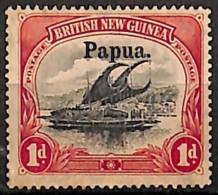 [829581]Papouasie 1907-08 - N° 10, 1p Rouge, Lakatoi Sur La Rivière Mambara, Surcharge Papua, Nogum, Bateau - Papouasie-Nouvelle-Guinée