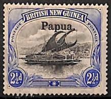 [829582]Papouasie 1907 - N° 12, 2d1/2 Outremer, Lakatoi Sur La Rivière Mambara, Surcharge Papua, Bateau - Papouasie-Nouvelle-Guinée