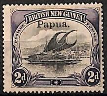 [829583]Papouasie 1907 - N° 19, 2d Violet, Lakatoi Sur La Rivière Mambara, Surcharge Papua, Bateau - Papouasie-Nouvelle-Guinée