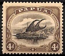 [829591]Papouasie 1908 - N° 37, 4p Brun, Perf 11, Fil Couché, Lakatoi Sur La Rivière Mambara, Bateau - Papouasie-Nouvelle-Guinée