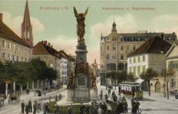 CARTE POSTALE ORIGINALE ANCIENNE : FREIBURG I. B KAISERSTRASSE M. SIEGESDENKMAL   ANIMEE ALLEMAGNE - Freiburg I. Br.