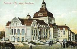 CARTE POSTALE ORIGINALE ANCIENNE : FREIBURG I. B  NEUES STADTTHEATER  ANIMEE ALLEMAGNE - Freiburg I. Br.