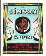 Etiquette   RHUM  Jimson - 44 - MARTINIQUE - Importateur Théophile Guillon à Nantes - - Rum