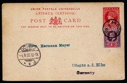 A5948) UK Antigua Leeward Islands Uprated Postcard 07/09/03 To Germany - 1858-1960 Kolonie Van De Kroon